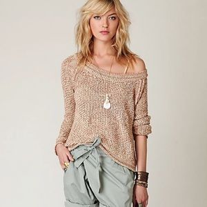 FREE PEOPLE | Pink Marled Yarn Pullover Sweater XS